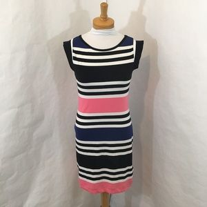 French Connection Black Striped Bodycon Dress